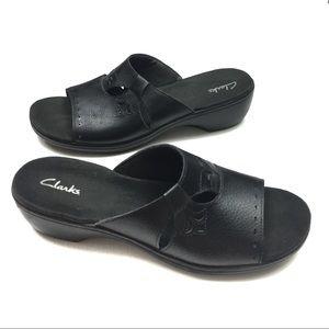 Clarks Black Leather Slip On Mule Sandals